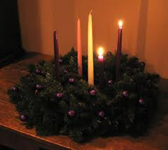 Advent wreath with two candles lit